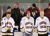 Greg Brown (BC - Assistant Coach), Bert Lenz (BC - Trainer) - Patrick Wey (BC - 6), Brooks Dyroff (BC - 14), Patrick Alber (BC - 27) - Craig Janney, Marty McInnis, Brian Leetch - The Boston University Terriers defeated the Boston College Eagles 3-2 on Friday, January 8, 2010, at Fenway Park in Boston, Massachusetts, as part of the Sun Life Frozen Fenway doubleheader.