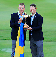 Henrik Stenson and Justin Rose celebrate after Team Europe wins the Ryder Cup 16 1/2 to 11 1/2 points after Sunday's Singles Matches of the Ryder Cup 2014 played on the PGA Centenary Course at the Gleneagles Hotel, Auchterarder, Scotland.: Picture Eoin Clarke, www.golffile.ie / www.golftouri,ages.com: 28th September 2014