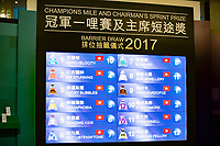 SHA TIN,HONG KONG-MAY 04: The result of Barrier Draw for Chairman's Sprint Prize at Sha Tin Racecourse on May 4,2017 in Sha Tin,New Territories,Hong Kong (Photo by Kaz Ishida/Eclipse Sportswire/Getty Images)