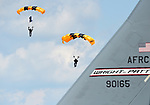 (Chicopee, MA, 07/15/18) Members of the US Army Golden Knights parachute team land during the Great New England Air and Space Show at Westover Air Reserve Base in Chicopee on Sunday, July 15, 2018. Photo by Christopher Evans