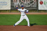 Ogden Raptors second baseman Deion Ulmer (3) on defense against the Orem Owlz in Pioneer League action at Lindquist Field on August 28, 2015 in Ogden, Utah.  (Stephen Smith/Four Seam Images)