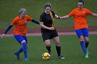 Action from the Capital Football women's division one match between Wellington United Emeralds and Island Bay Sharkettes at Newtown Park in Wellington, New Zealand on Sunday, 23 June 2019. Photo: Dave Lintott / lintottphoto.co.nz