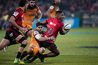 Jaguares' Joaquin Diaz Bonilla tackles Crusaders' Sevu Reece during the 2019 Super Rugby final between the Crusaders and Jaguares at Orangetheory Stadium in Christchurch, New Zealand on Saturday, 6 July 2019. Photo: Joe Johnson / lintottphoto.co.nz