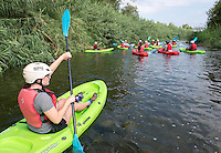 Incoming Occidental College students prepare for and then ride down the L.A. River in kayaks as part of Oxy Engage, Aug. 18, 2015.<br /> (Photo by Marc Campos, Occidental College Photographer)