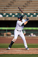 Lynchburg Hillcats right fielder Trenton Brooks (13) at bat during the first game of a doubleheader against the Potomac Nationals on June 9, 2018 at Calvin Falwell Field in Lynchburg, Virginia.  Lynchburg defeated Potomac 5-3.  (Mike Janes/Four Seam Images)