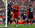 Roberto Firmino of Liverpool reacts to a missed chance during the Premier League match at Anfield, Liverpool. Picture date: 7th March 2020. Picture credit should read: Darren Staples/Sportimage
