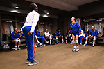 KANSAS CITY, MO - DECEMBER 16: Darrielle King (2) and Allie Gregory (14) of the University of Florida dance in the locker room before the Division I Women's Volleyball Championship held at Sprint Center on December 16, 2017 in Kansas City, Missouri. (Photo by Jamie Schwaberow/NCAA Photos via Getty Images)
