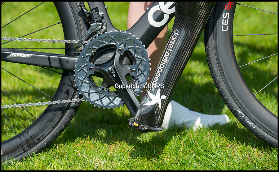 BNPS.co.uk (01202 558833)Pic: PhilYeomans/BNPS<br /> <br /> The carbon fibre leg locks straigt into the cycle pedal.<br /> <br /> A Dorset girl who paid £5000 to have her foot amputated has amazingly claimed that its the best decision she ever made after losing 4 stone in weight and having her sites firmly set on the Tokyo Para-Olympics.<br /> <br /> Super fit Hannah(21) has just collected a new £10,000 carbon fibre leg that will boost her chances of winning gold in the Olympic triathalon after becoming British champion.<br /> <br /> Hannah took the life changing decision to have her right foot amputated in 2016 after years of excruciating pain from an infection caused by an ingrowing toenail.<br /> <br /> But refusing to let her misfortune get the better of her Hannah launched herself on an incredible fitness routine of running, swimming and cycling that has propelled her towards Olympic glory.