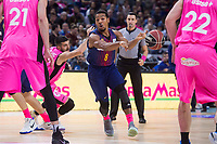 Estudiantes Alex Brown and Niki Caner-Medley and FC Barcelona Lassa Phil Pressey during Liga Endesa match between Estudiantes and FC Barcelona Lassa at Wizink Center in Madrid, Spain. October 22, 2017. (ALTERPHOTOS/Borja B.Hojas) /NortePhoto.com
