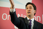 Ed Miliband MP, speaks at a London press conference about the Labour Party and its links to trade unions.