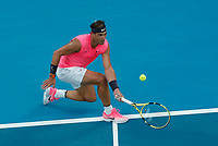 27th January 2020; Melbourne Park, Melbourne, Victoria, Australia; Australian Open Tennis, Day 8; Rafael Nadal of Spain returns at the net to  Nick Kyrgios of Australia during their game