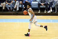 CHAPEL HILL, NC - FEBRUARY 1: Jeremiah Francis #13 of the University of North Carolina brings the ball up the court during a game between Boston College and North Carolina at Dean E. Smith Center on February 1, 2020 in Chapel Hill, North Carolina.