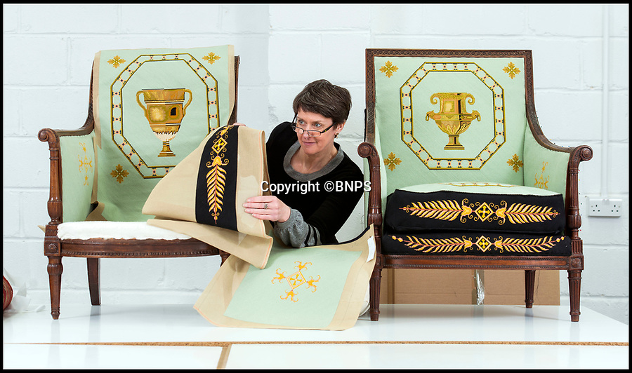 BNPS.co.uk (01202 558833)<br /> Pic: PhilYeomans/BNPS<br /> <br /> Conservator Emma Telford with a restored chair and its part finished pair.<br /> <br /> Seat of Power - The First Duke of Marlborough's campaign chairs, upon which he sat to plot the downfall of the French King Louis XIV, are returning to Blenheim Palace following an 18-month restoration.<br /><br />The chairs would have been carted across Europe as part of the Duke's baggage train to allow him a comfortable seat in which to plan his stunningly successful campaign against the mighty French monarch.<br /><br />Textile conservator Emma Telford, who is based in Herefordshire, had to turn detective to re-discover the ornate 18th century chairs' original decoration and recruit a team of embroiders to help bring them back to life.<br /><br />In total Emma and her volunteer helpers used a staggering 10,000 metres of French silk to re-embroider the chairs with the original designs.