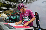 Maglia Ciclamino German Champion Pascal Ackermann (GER) Bora-Hansgrohe at sign on before Stage 3 of the 2019 Giro d'Italia, running 220km from Vinci to Orbetello, Italy. 13th May 2019<br /> Picture: Gian Mattia D'Alberto/LaPresse | Cyclefile<br /> <br /> All photos usage must carry mandatory copyright credit (© Cyclefile | Gian Mattia D'Alberto/LaPresse)