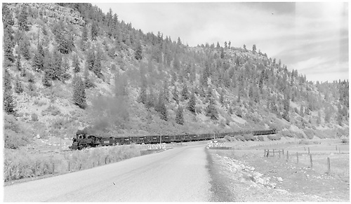 Panoramic view of RGS #461 approaching Brown with a stock train.<br /> RGS  Brown, CO  Taken by Richardson, Robert W. - 9/26/1951