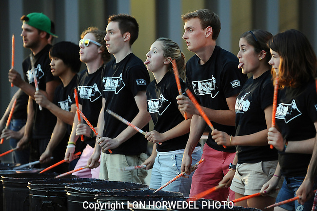 Pictures of the year 2012: Drum line performing for the Artscapade 2012 at the University of Michigan Art Museum, August 30.