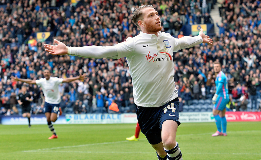 Preston North End's Joe Garner celebrates scoring the opening and first goal of his hat-trick<br /> <br /> Photographer Stephen White/CameraSport<br /> <br /> Football - The Football League Sky Bet League One - Preston North End v Swindon Town - Saturday 25th April 2015 - Deepdale - Preston<br /> <br /> &copy; CameraSport - 43 Linden Ave. Countesthorpe. Leicester. England. LE8 5PG - Tel: +44 (0) 116 277 4147 - admin@camerasport.com - www.camerasport.com