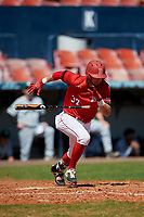 Bradley Braves Jean-Francois Garon (37) bunts for a base hit during a game against the Dartmouth Big Green on March 21, 2019 at Chain of Lakes Stadium in Winter Haven, Florida.  Bradley defeated Dartmouth 6-3.  (Mike Janes/Four Seam Images)