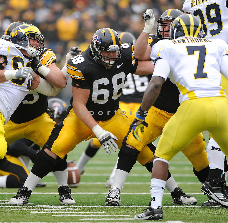 BRANDON SCHERFF, of the Iowa Hawkeyes, in action during Iowa's game against the Michigan Wolverines on November 5, 2011 at Kinnick Stadium in Iowa City, IA. Iowa beat Michigan 24-16.