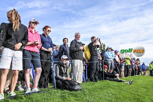 Crowds watch on during the Saturday afternoon fourballs at the 2016 Curtis cup from Dun Laoghaire Golf Club, Ballyman Rd, Enniskerry, Co. Wicklow, Ireland. 11/06/2016.<br /> Picture Fran Caffrey / Golffile.ie<br /> <br /> All photo usage must carry mandatory copyright credit (&copy; Golffile | Fran Caffrey)