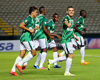 PALMIRA -COLOMBIA-23-07-2015. Rafael Santos Borre (Der) jugador del Deportivo Cali celebra un gol anotado a Uniautonoma durante partido válido por la fecha 3 de la Liga Aguila II 2015 jugado en el estadio Palmaseca de la ciudad de Palmira./  Rafael Santos Borre (R) player of Deportivo Cali celebrates a goal scored to Uniautonoma during match for the third date of the Postobon League II 2013 played at Palmaseca stadium in Cali city.  Photo: VizzorImage/ Nelson Rios /Cont