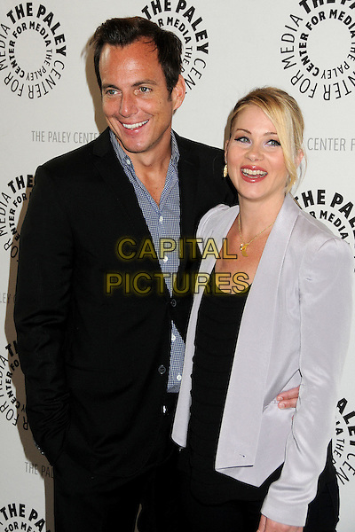 "Will Arnett, Christina Applegate.""Up All Night"" Presented by The Paley Center for Media held at The Paley Center, Beverly Hills, California, USA..May 8th, 2012.half length blazer suit blue shirt black top grey gray .CAP/ADM/BP.©Byron Purvis/AdMedia/Capital Pictures."