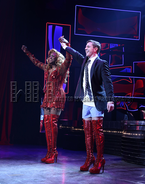 """Wayne Brady and Jake Shears during the Curtain Call for Wayne Brady's return to """"Kinky Boots"""" on Broadway on March 5, 2018 at the Hirschfeld Theatre in New York City."""