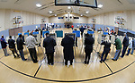 People had to wait to use voting booths at Christ Church in Fairview Heights on Tuesday morning November 6, 2018. Voters were out in force at most polling places in Belleville and surrounding communities for the mid-term elections behind held nationwide. <br /> Photo by Tim Vizer