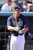 Tampa Bay Rays third baseman Chris Gimenez #63 at bat during a spring training game against the Baltimore Orioles at the Charlotte County Sports Park on March 5, 2012 in Port Charlotte, Florida.  (Mike Janes/Four Seam Images)