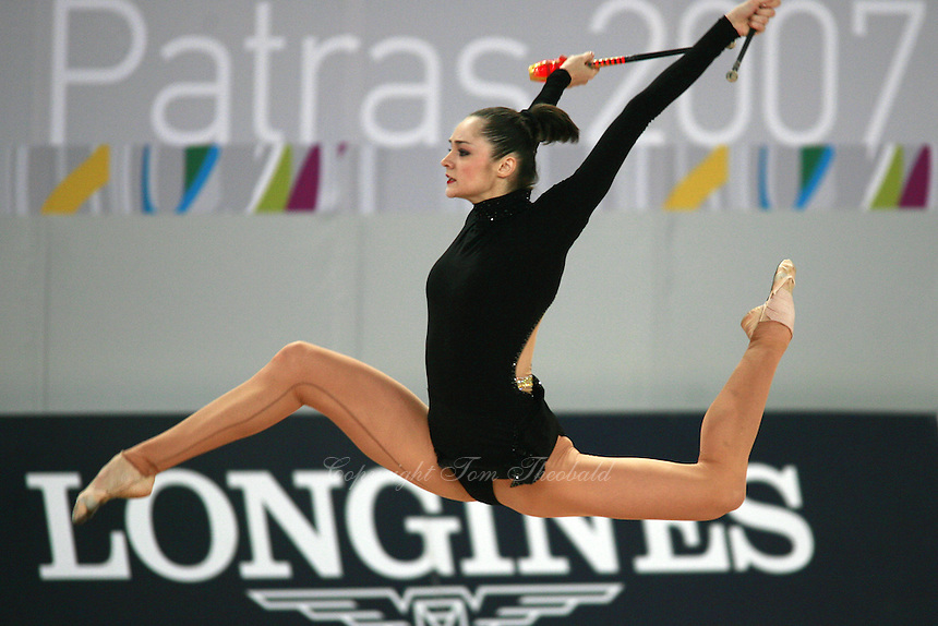 September 19, 2007; Patras, Greece;  Anna Bessonova of Ukraine performs with clubs at 2007 World Championships Patras.  Photo by Tom Theobald. .