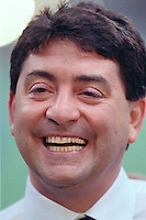 NEW ORLEANS, LA - Owner Eddie Debartolo of the San Francisco 49ers smiles after his team won Super Bowl XXIV against the Denver Broncos at the Superdome in New Orleans, Louisiana in January of 1990. Photo by Brad Mangin.