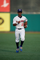 Brooklyn Cyclones outfielder Kennie Taylor (23) jogs to the dugout during a NY-Penn League game against the Tri-City ValleyCats on August 17, 2019 at MCU Park in Brooklyn, New York.  Brooklyn defeated Tri-City 2-1.  (Mike Janes/Four Seam Images)