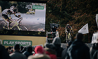 Ellen Van Loy (BEL/Telenet Fidea Lions) racing next to herself when coming over the bridge one last time<br /> <br /> Women's race<br /> Superprestige Gavere / Belgium 2017