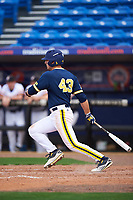Michigan Wolverines first baseman Carmen Benedetti (43) at bat during the second game of a doubleheader against the Canisius College Golden Griffins on February 20, 2016 at Tradition Field in St. Lucie, Florida.  Michigan defeated Canisius 3-0.  (Mike Janes/Four Seam Images)