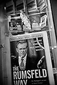 Washington DC.USA.March 12, 2003..The bestseller on Donald Rumsfeld prominently display at DC's National Airport bookstore .