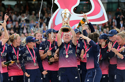 July 23rd 2017, Lords Cricket Ground, London, England; The ICC Women's World Cup Final; England Women versus India Women; England Captain Heather Knight and her team celebrate with the Women's ICC World cup Trophy