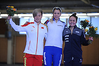SPEEDSKATING: BERLIN: Sportforum Berlin, 27-01-2017, ISU World Cup, Podium 1000m Ladies Division B, Nan Sun (CHN), Nadezhda Aseeva (RUS), Jerica Tandiman (USA), ©photo Martin de Jong