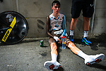Romain Bardet (FRA) AG2R La Mondiale exhausted after his run during Stage 20 of the 104th edition of the Tour de France 2017, an individual time trial running 22.5km from Marseille to Marseille, France. 22nd July 2017.<br /> Picture: ASO/Bruno Bade | Cyclefile<br /> <br /> <br /> All photos usage must carry mandatory copyright credit (&copy; Cyclefile | ASO/Bruno Bade)