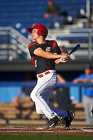 Batavia Muckdogs left fielder Walker Olis (3) at bat during a game against the Hudson Valley Renegades on August 2, 2016 at Dwyer Stadium in Batavia, New York.  Batavia defeated Hudson Valley 2-1. (Mike Janes/Four Seam Images)