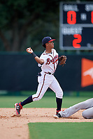 GCL Braves shortstop Luidemid Rojas (1) throws to first base to try to complete a double play during the second game of a doubleheader against the GCL Yankees West on July 30, 2018 at Champion Stadium in Kissimmee, Florida.  GCL Braves defeated GCL Yankees West 5-4.  (Mike Janes/Four Seam Images)