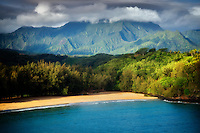 Small beach and mountain. Kauai, Hawaii