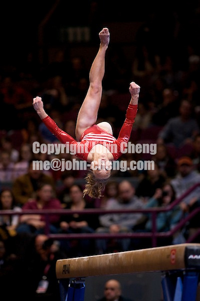 3/1/08 - Photo by John Cheng -  Samantha peszek of the United States performs on the balance beam at the Tyson American Cup in Madison Square GardenPhoto by John Cheng - Tyson American Cup 2008 in Madison Square Garden, New York.Samantha Peszek