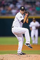 Charlotte Knights relief pitcher Jarrett Casey (24) in action against the Gwinnett Braves at BB&T Ballpark on August 19, 2014 in Charlotte, North Carolina.  The Braves defeated the Knights 10-5.   (Brian Westerholt/Four Seam Images)