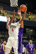 Washington, DC - December 22, 2018: Richmond Spiders forward Nathan Cayo (4) makes a layup during the DC Hoops Fest between Hampton and Howard at  Entertainment and Sports Arena in Washington, DC.   (Photo by Elliott Brown/Media Images International)