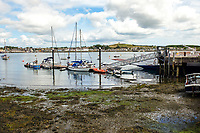 Strangford, Co Down, N Ireland, harbour in the foreground looking across Strangford Lough to Portaferry on the Ards Peninsula. 4th August 2018, 201808044490<br />