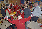 19th January, 2007.Prior to the launch of the Impact Analysis Study of the St. John's Junior National School and St. Paul's Senior National School Breakfast Club (Drogheda) to be held on Wed 24th January. With pupils from from the above are from L to R: Sally Kear (Project Co-ordinator), Aisling Dowling (Caterer), Dympna MacKenna (principal, St. John's), Seamus Lynch (principal, St. Pauls), Geraldine McCabe (centre) (Caterer), Jinty Farrell (back left) and Caroline Gregory (Caterer)...Photo: BARRY CRONIN/Newsfile..(Photo credit should read BARRY CRONIN/NEWSFILE).