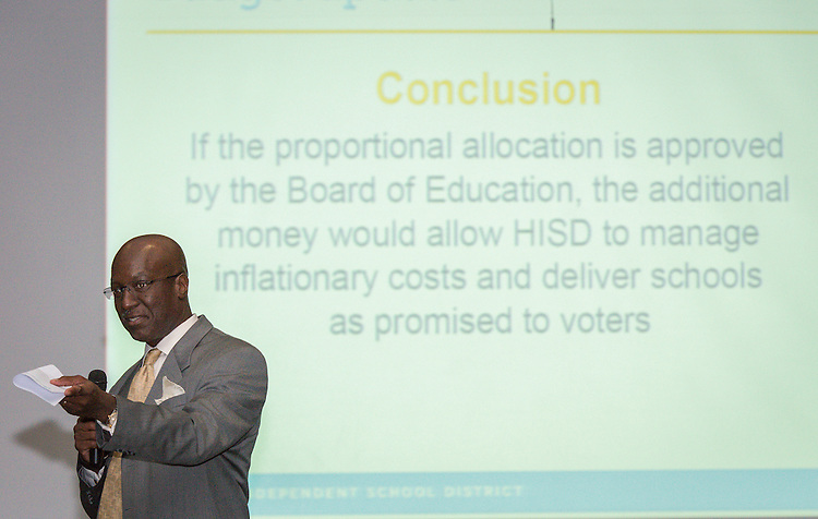 Houston ISD and Joiner Architects staff update community members on the design plans for a new Westbury High School during a meeting, September 17, 2015.