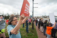 NWA Democrat-Gazette/BEN GOFF @NWABENGOFF<br /> Pam Heckerson of Rogers joins other participants next to South Thompson Street Saturday, March 24, 2018, during for a March for our Lives event in downtown Springdale. The local march was organized by students from Springdale Har-Ber High in solidarity with marches across the country today to call for an end to gun violence.