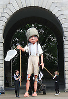 10/09/'10 A 15 foot high 8 year old boy explorer puppet at The National Museum of Ireland, Collins Barracks this afternoon as they prepare for the Saturday opening spetacular Absolut Fringe 16th Annual Fringe Festival. The free show opens tomorrow night at Collins Barracks at 8pm and runs until the 26th Sept..Picture Colin Keegan, Collins, Dublin.