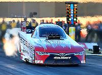 Feb 6, 2015; Pomona, CA, USA; NHRA funny car driver Chad Head during qualifying for the Winternationals at Auto Club Raceway at Pomona. Mandatory Credit: Mark J. Rebilas-USA TODAY Sports